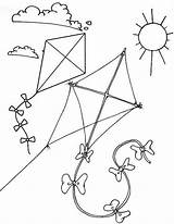 Kite Coloring Flying Children Coloringpagesfortoddlers Themed Sunny Colouring Preschool Sheets sketch template