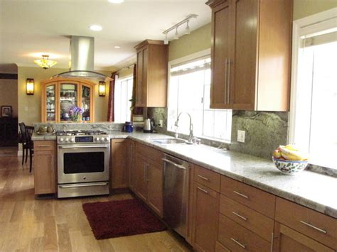 transitional kitchen  wood floors  birch cabinets