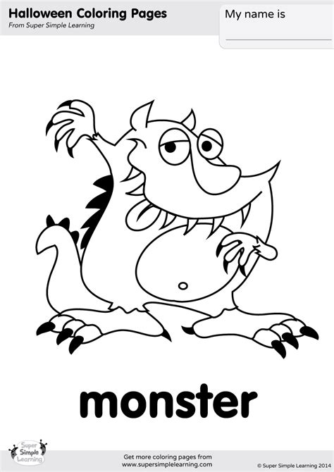 Monster Coloring Page Super Simple