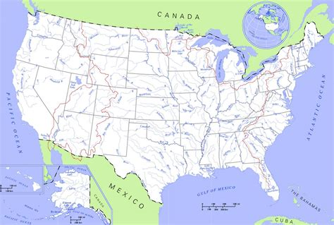 maps united states map rivers and lakes