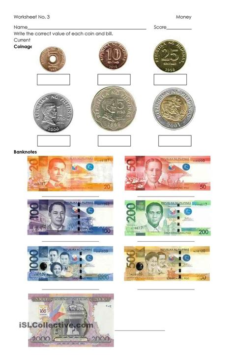 money philippine coins  bills money worksheets