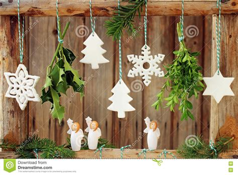 christmas decorations  wooden fence stock photo image