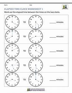 Free Printable Clock Worksheets Elapsed Time Clock 1