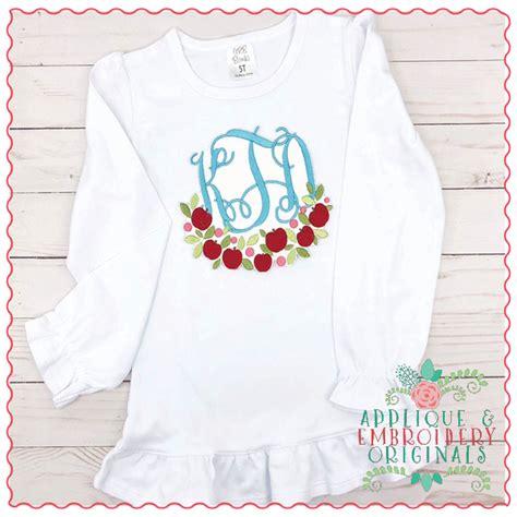apple swag monogram frame applique design applique embroidery originals