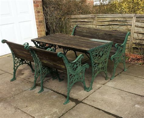 Cast Iron And Wood Table , Chair And Bench Patio Garden