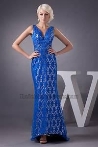Elegant Royal Blue Lace Formal Gown Evening Prom Dresses ...