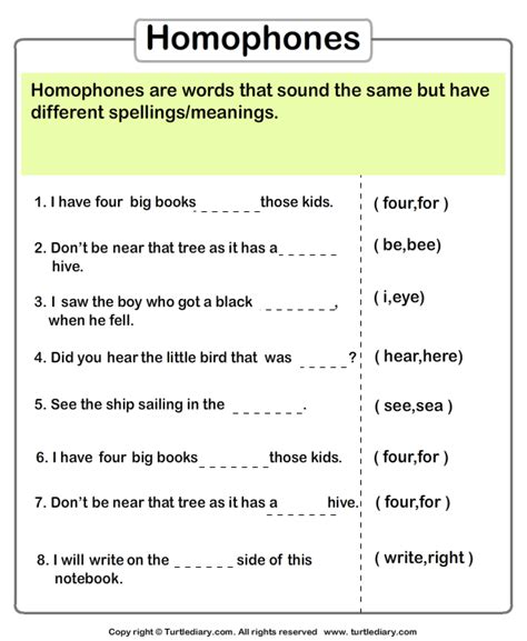 complete the sentences with correct homophone worksheet 3