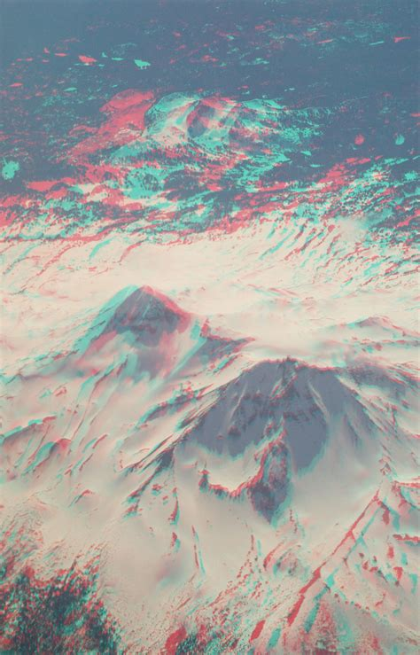 anaglyph aerial volcano  view   volcano