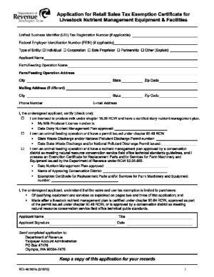 application for retail sales tax exemption certificate for