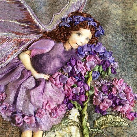heliotrope flower fairy close  threads  silk ribbon