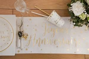 Chemin De Table Anniversaire : chemin de table joyeux anniversaire or ~ Melissatoandfro.com Idées de Décoration