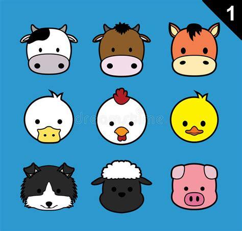 flat animal faces stroke icon cartoon vector set  farm