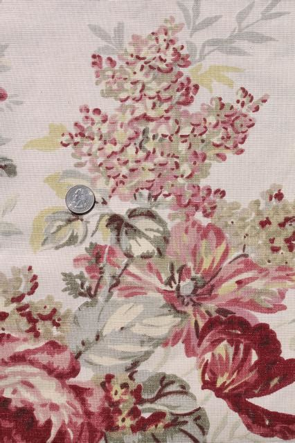 vintage roses print curtains fabric lot waverly norfolk