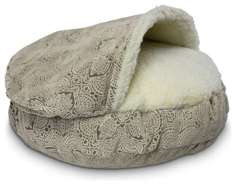 32877 snoozer cozy cave pet bed snoozer micro suede cozy cave pet bed large amulet shell