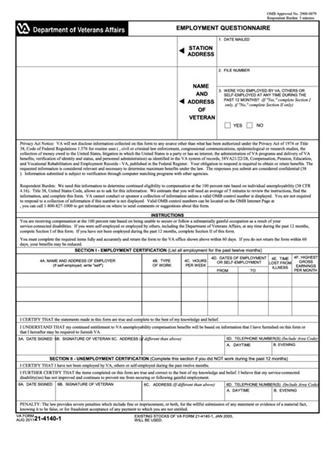 fillable va form    employment questionnaire