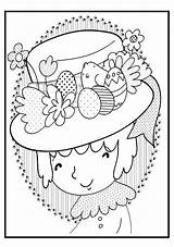 Easter Coloring Happy Pages Bonnet Preschool sketch template
