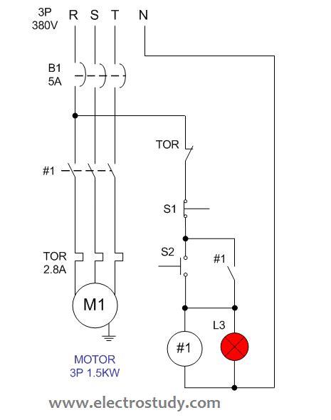 wiring diagram single motor  start stop switch