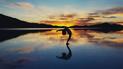 Yoga Lake Silhouette 4k Background Horizon Uhd