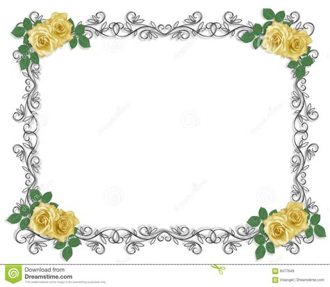 wedding invitation border yellow rose royalty  stock