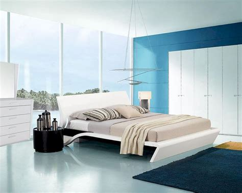 contemporary style glossy bedroom set  platform bed
