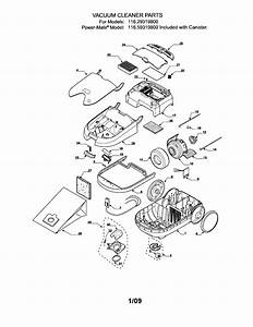 Kenmore Model 11629319800 Vacuum  Canister Genuine Parts