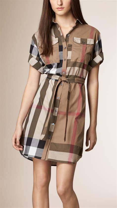 burberry check cotton box fit shirt dress  brown lyst