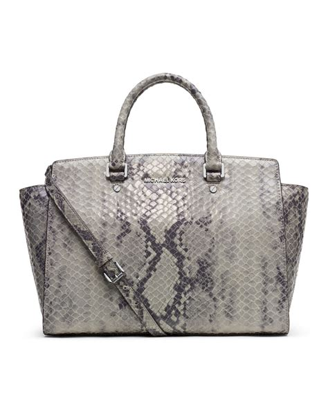 michael michael kors large selma snakeembossed satchel in