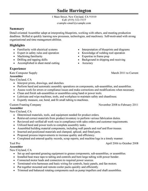 Best Electronic Assembler Resume by Unforgettable Assembler Resume Exles To Stand Out