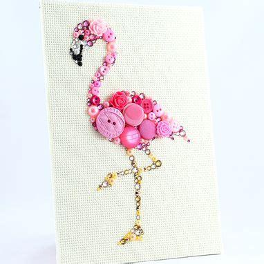 buy  custom  pink flamingo button art wall hanging