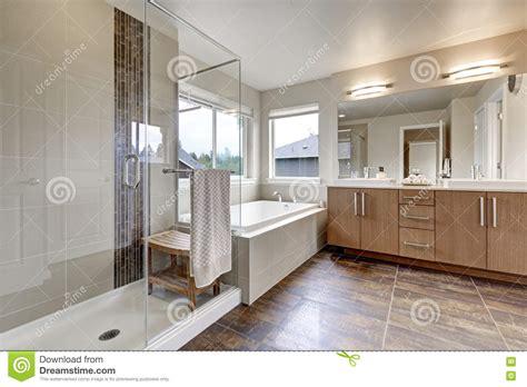 White Modern Bathroom Interior In Brandnew House Stock