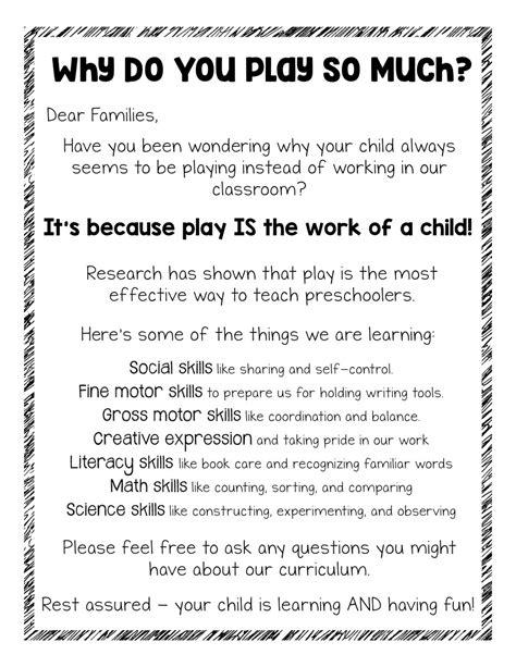 parent handout      play