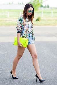 Hot Pink Floral Bomber Zara Jackets Yellow Clutch Neon