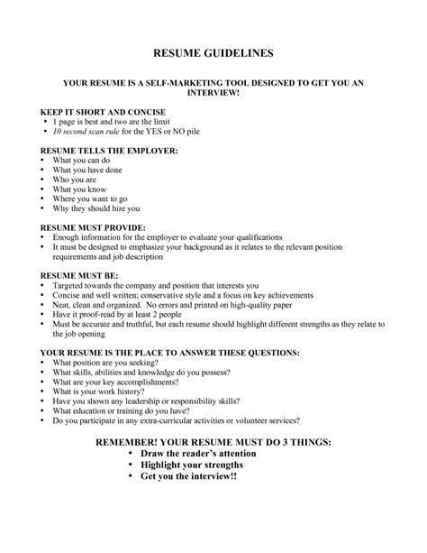 Guidelines Resume resume guidelines cvist co