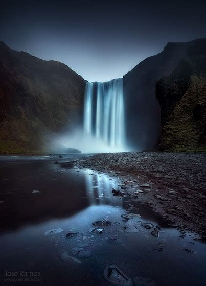 sublimation skogafoss waterfall iceland long