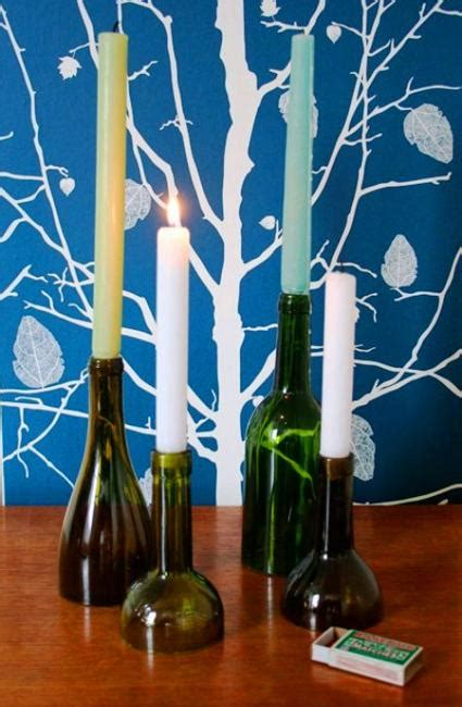 recycling glass bottles  candles centerpieces  table