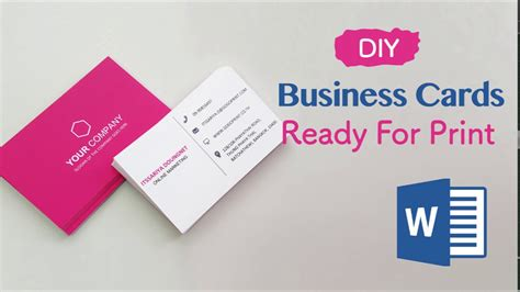 create  business cards  word professional  print ready   easy steps youtube