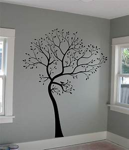 large wall decal tree with bird deco art sticker mural ebay With large tree template for wall