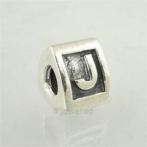 authentic pandora sterling silver letter j charm bead ebay With pandora letter j