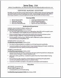 sample cna resume With cna sample resume with experience