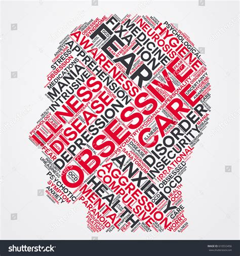 obsessive word cloud head typography stock vector 610553456 shutterstock