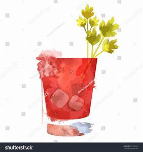 Watercolor Techniques Vector Cocktail Pictures. Hand Drawn ...