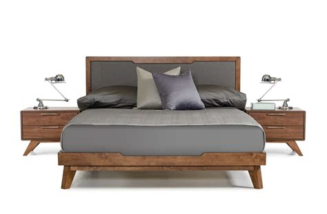 size box springs domus soria mid century grey walnut bed modern