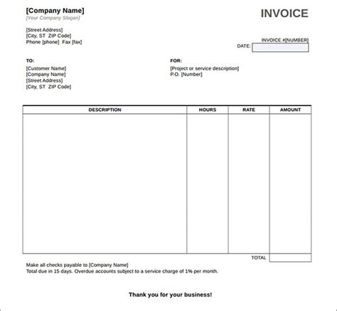 service invoice template word   charlotte