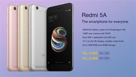xiaomi redmi 5a launched in india for rs 4 999 77