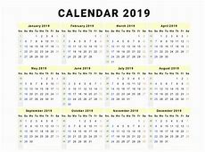 Free Yearly Editable 2019 Calendar PDF Template March