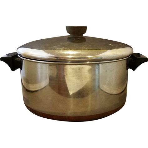 vintage revere ware   qt dutch oven  cookware copper clad  hoosiercollectibles