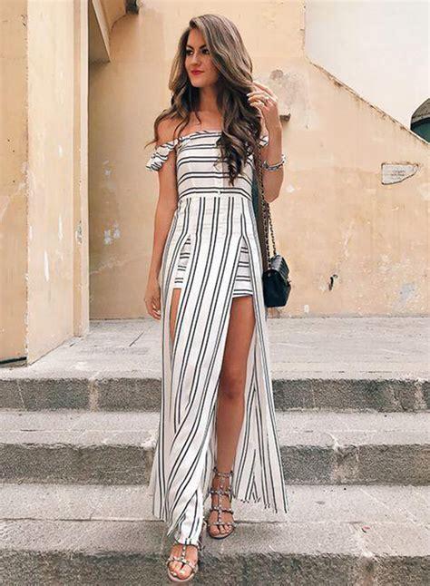 Womens Strapless Off Shoulder High Slit Striped Dress