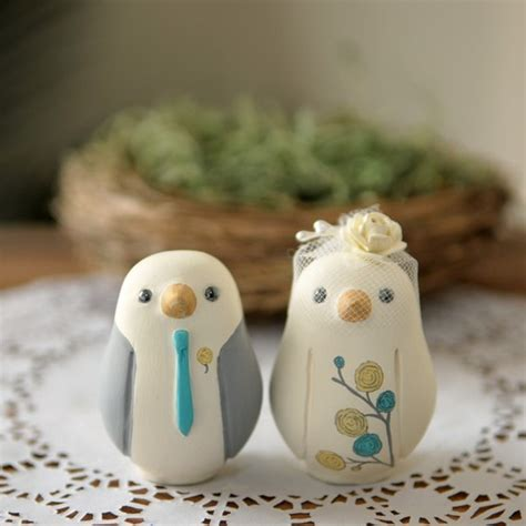 birds wedding cake topper custom wedding cake topper small painted birds