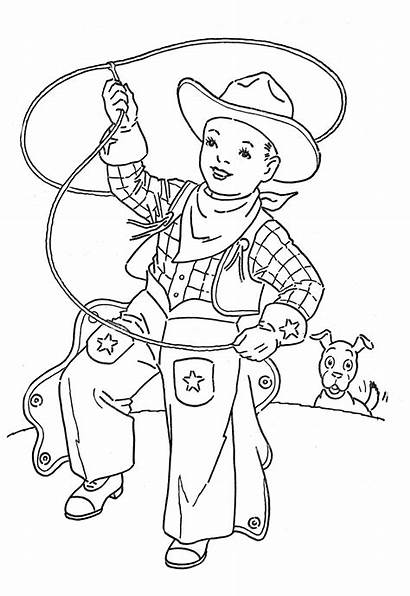 Cowboy Coloring Clip Pages Cowgirl Western Printable