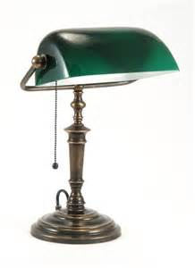 classic bankers l with glass green shade is hand made
